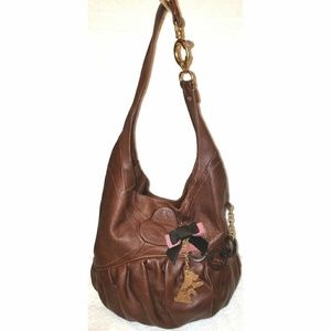 Extra large brown leather hobo handbag